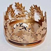 Bath & Body Works Gold Leaves Pedestal Large 3 Wick Candle Holder Sleeve 14.5oz - $23.74