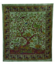 INDIAN MANDALA QUEEN GREEN HIPPIE TREE of LIFE TAPESTRY BEDSPREAD Beach ... - $364,39 MXN