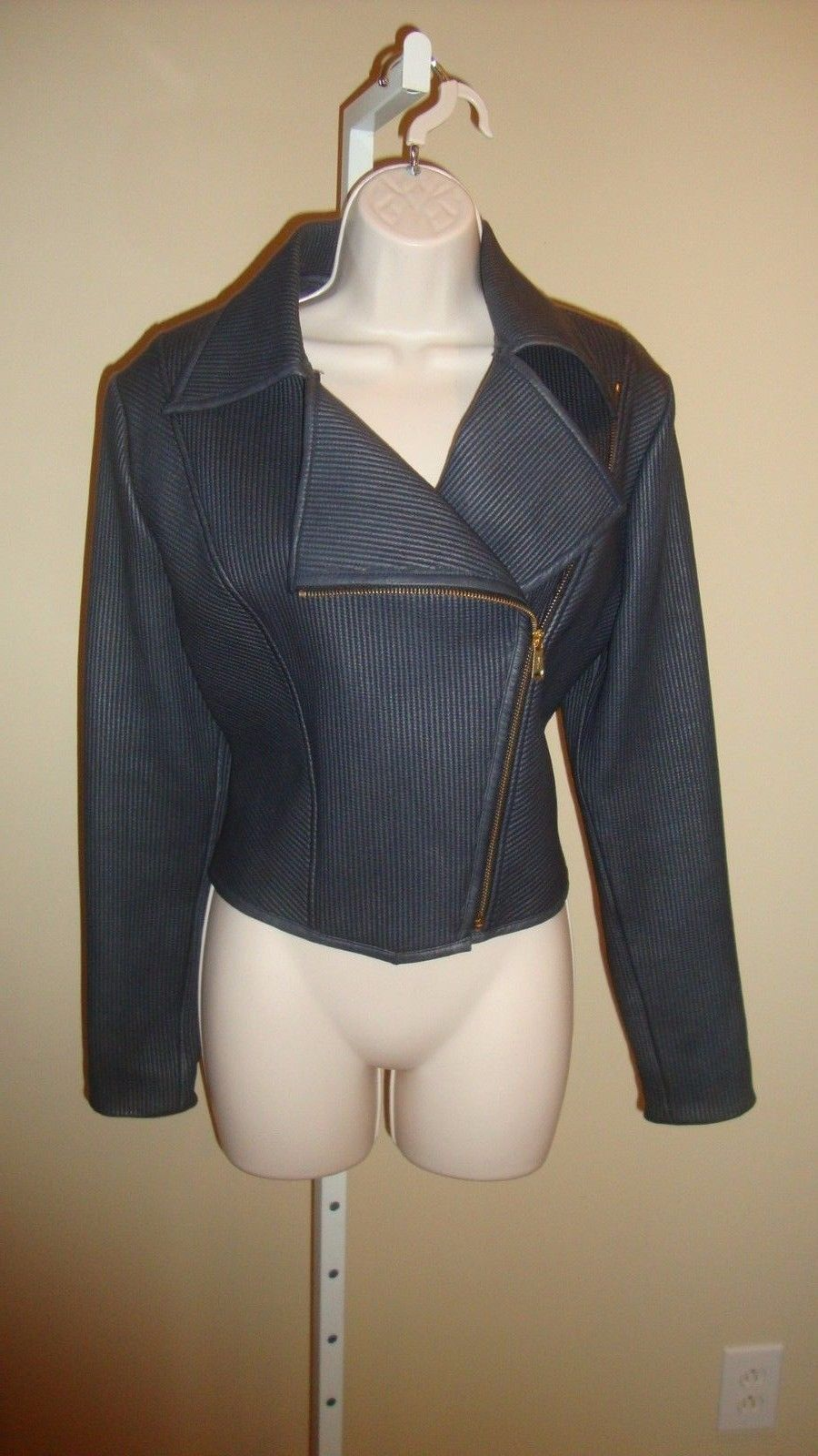 GORGEOUS $3,995 NWT RALPH LAUREN BLACK LABEL RIBBED LEATHER CROPPED MOTO JACKET