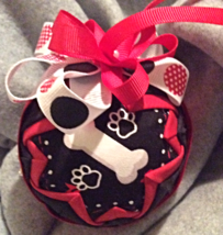 Quilted Dog Bone ChristmasThemed Holiday Ornament - $26.00