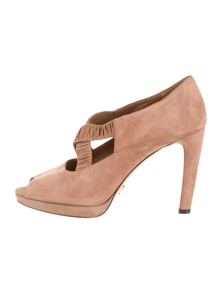 STUNNING, SOLD OUT, NEW $890 SUEDE PRADA PEEP TOE PLATFORM HEELS / PUMPS
