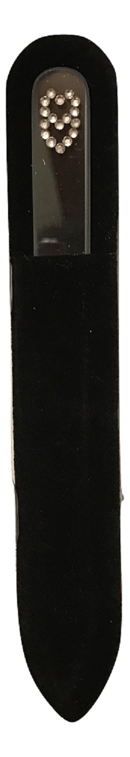 Clear Crystal Duo Hearts Glass Nail File with Velvet Sleeve, 6 inches