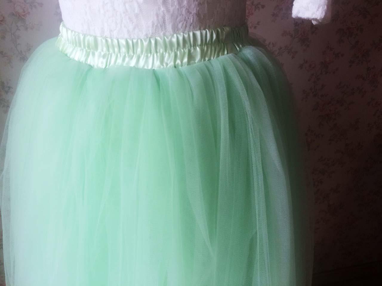 MINT GREEN Maxi Length Women Full Tulle Skirt Plus Size Bachelorette Tulle Skirt