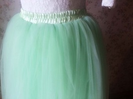 Mint Green Long Tulle Skirt 4 Layered Adult Tutu Plus Size Long Tulle Skirt image 3