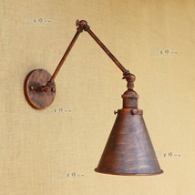 20TH C. Library Double Swing Arm Sconce Antique Rust Wall Lamp E27 Light Lightin - $85.59