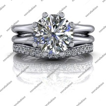 2.27Ct Round Cut 14k White Gold Plated Engagement Bridal Set 925 Sterlin... - $89.99