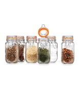 Elegant Home Airtight Storage Clear Glass Kitchen Seal Spice Jars Lid Set 6 - $18.69