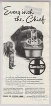 1948 Santa Fe Chief Passenger Train Boy Indian Costume Headdress Print A... - $8.79
