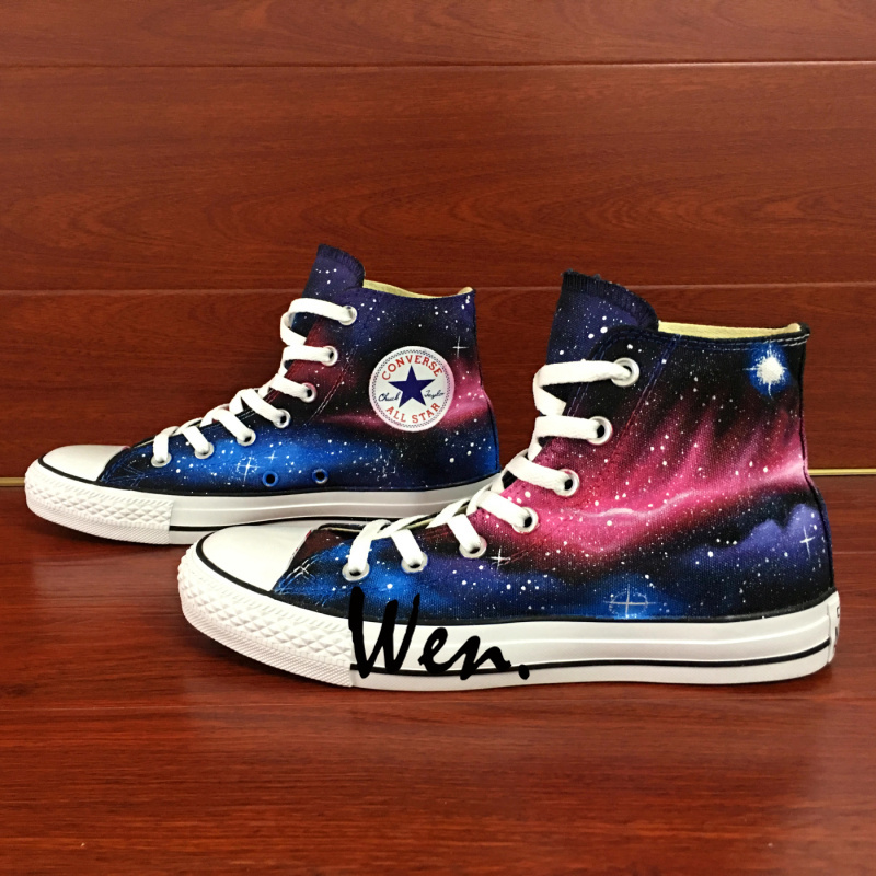 Galaxy Converse All Star Original Design Hand Painted Shoes Men Women's Sneakers
