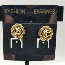 Gold Tone Rose And Rhinestone Vintage Screw Back Earrings - $15.83