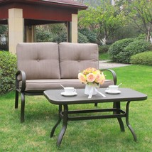 2PC Outdoor Furniture Garden Patio Set Wrought Iron Coffee Table Bench C... - $169.99