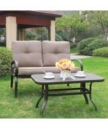 2PC Outdoor Furniture Garden Patio Set Wrought Iron Coffee Table Bench C... - $169.99