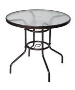 "32"" Outdoor Dining Bistro TableTempered Glass Top Umbrella Stand Table P... - $59.99"