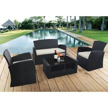 4 PC Cushioned Patio Rattan Wicker Sofa Set Outdoor Black Furniture with... - $321.00