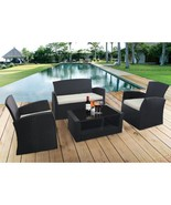 4 PC Cushioned Patio Rattan Wicker Sofa Set Outdoor Black Furniture with... - $329.99