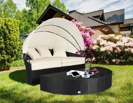 4PC Cushioned Wicker Patio Garden Lawn Rattan Round Sofa Furniture With ... - $449.99