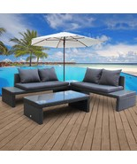 4 PC Outdoor Cushioned Patio Garden Furniture Set Rattan Sofa ,Glass Table - $549.99+