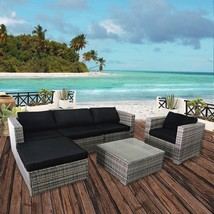 6PC Outdoor Patio Wicker Sofa Furniture Set, Rattan Couch with Cushions,... - $649.99