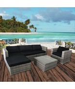 6PC Outdoor Patio Wicker Sofa Furniture Set, Rattan Couch with Cushions,... - $599.99