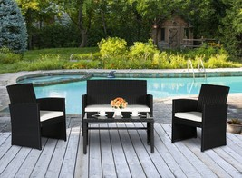 4 PC Wicker Sofa Set Rattan Patio Furniture Black Garden Lawn Cushioned ... - $219.99