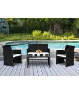 4 PC Wicker Sofa Set Rattan Patio Furniture Black Garden Lawn Cushioned ... - $169.99