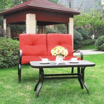 Outdoor Furniture Garden Patio Set Wrought Iron Coffee Table Loveseat So... - $179.99