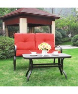 Outdoor Furniture Garden Patio Set Wrought Iron Coffee Table Loveseat So... - $169.99