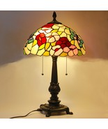 "Tiffany Style Stained Glass Table Lamp Victorian 2-Light 14"" Shade - $89.99"