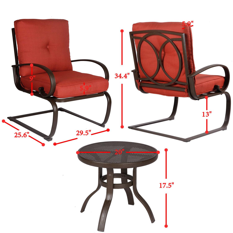 3PC Outdoor Patio Bistro Bar Garden Furniture Set Conversation Set Round Table