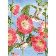 Rain or Shine Small Garden Flag Hummingbird and Hollyhocks 12.5 x 18 - $12.23