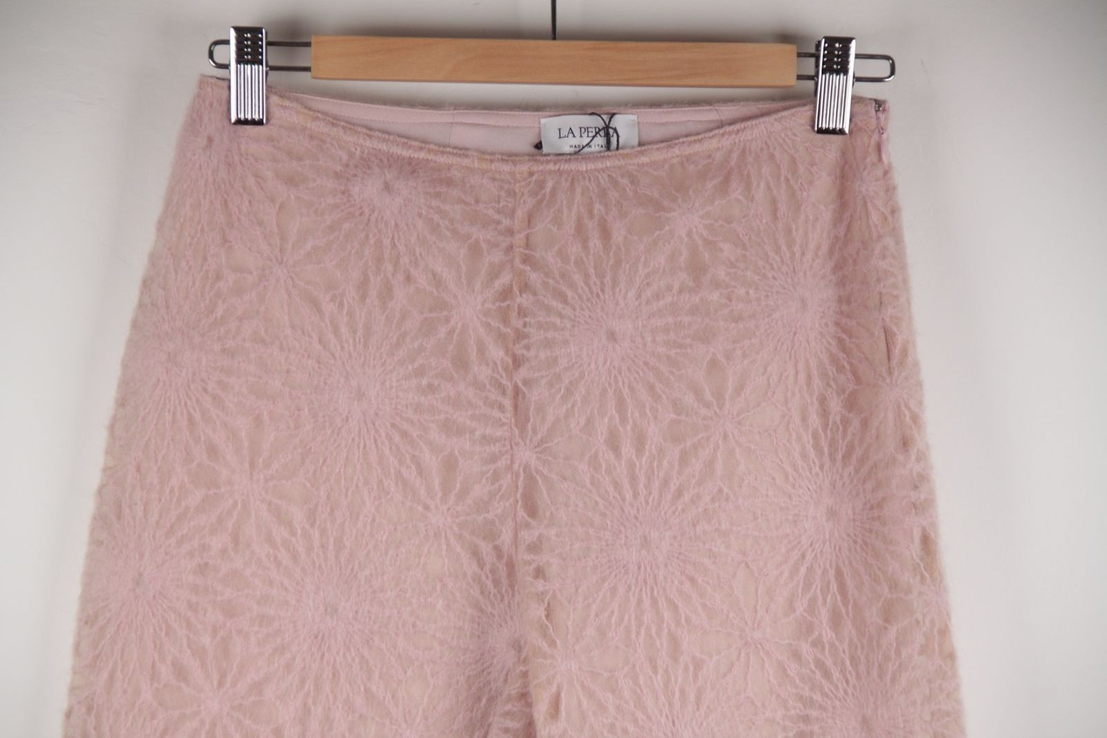 LA PERLA Italian Pink Mesh TROUSERS Flared Leg PANTS w/ WOOL Embroidery 42 IT
