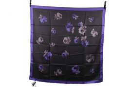 Authentic PRADA Black & Electric Blue Silk SCARF Floral FLOWERS Pattern - $143.49 CAD