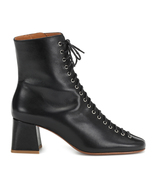 BY FAR Becca Lace-up Black Leather Ankle Heeled Boots - $375.00