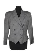 CHRISTIAN DIOR THE SUIT PETITES Gray Wool DOUBLE BREASTED JACKET Blazer ... - $54.45