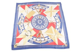 Authentic HERMES PARIS Blue Silk Scarf SEXTANTS 1981 by Loic Dubigeon - $230.83 CAD