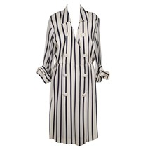 ANDREA ODICINI Italian VINTAGE White & Navy Striped SHIRT DRESS Sz 46 - $193.05