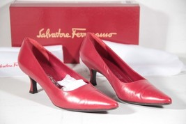 SALVATORE FERRAGAMO Italian Red Leather Heels PUMPS shoes Size 7,5 AZ - $100.09 CAD