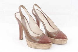 Authentic PRADA Brown Leather SLINGBACK HEELS S... - $89.10