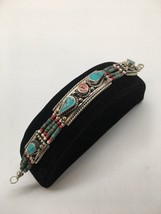 1pc, Nepalese Red Coral & Green Turquoise Inlay Statement Boho Bracelet,... - $10.40