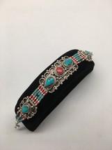Vintage Nepalese Red Coral & Green turquoise Inlay Statement Bib Bracele... - $12.80