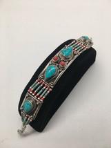 Vintage Nepalese Red Coral & Green turquoise Inlay Statement Bib Bracele... - $18.00