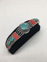 Vintage Nepalese Red Coral & Green turquoise Inlay Statement Bib Bracele... - $24.00