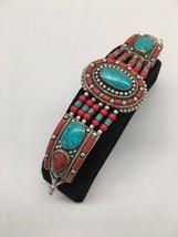Vintage Nepalese Red Coral & Green turquoise Inlay Statement Bib Bracele... - $26.00