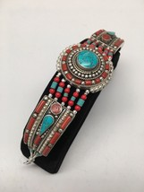 Vintage Nepalese Red Coral & Green turquoise Inlay Statement Bib Bracele... - $26.00