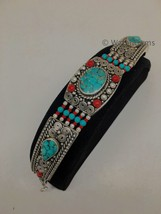 Vintage Nepalese Red Coral & Green turquoise Inlay Statement Bib Bracele... - $24.00
