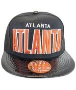 Atlanta Men's Adjustable Snapback Baseball Cap Textured Brim with Script... - $10.95