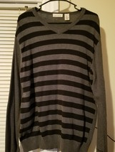 DKNY Jeans Mens Large V Neck Long Sleeve Black Gray Sweater STRIPED - $9.85