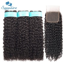 Sapphire Kinky Curly Bundles With 4*4 Closure Human Hair Bundles With Closure Re - $210.70