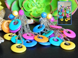 Vintage Colorful Earrings Acrylic Plastic Circles Rings Dangle Clip On - $16.95