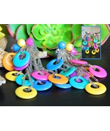 Vintage Colorful Earrings Acrylic Plastic Circl... - $16.95